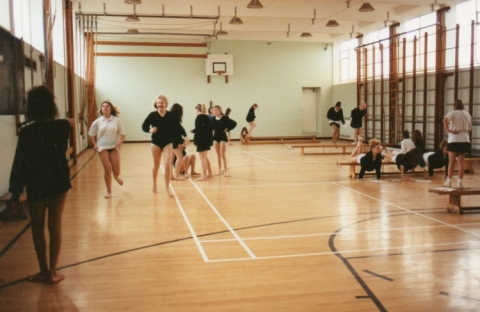 Gymnastics in the school gym